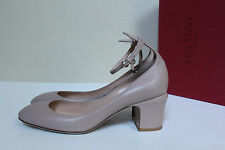 New sz 8 / 38.5 Valentino Nude Beige Leather Tan-Go Tango Ankle Strap Pump Shoes