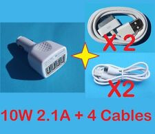 Car Charger 4 Ports USB Adapter For Samsung Galaxy Tab Series 10W 2.1A + Cables