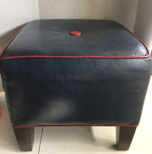 Ethan Allen Square Footed Ottoman Foot Stool Soft Blue Faux Leather Red Trim