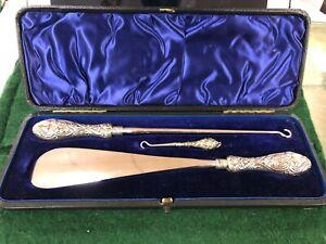 Silver Shoe Horn & Button Hook Set By L Spiers 1893 13g