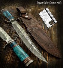 IMPACT CUTLERY RARE CUSTOM DAMASCUS BOWIE KNIFE CAMEL BONE HANDLE