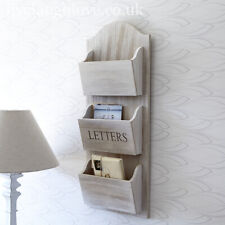 60 x 24 cm Whitewash Wooden Wall Hanging Letter Holder