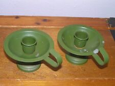 Vintage Pair of Japan Marked Olive Green Painted Metal Candle Stick Holders –