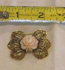 """PINK ROSE bakelite Vintage LAPEL PIN Brooch Gold tone Filigree leaves 1 3/4"""" W"""