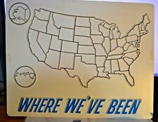 """United States Of America Raised Plastic White Map To Mark """"Where We've Been"""""""