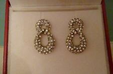 Stunning Drop Earrings set with simulated diamonds - New- Pierced ears