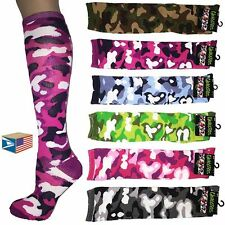 6 PAIR LOT WOMENS LADIES Camo Camouflage SCHOOL GIRL KNEE HIGH SOCKS #0421