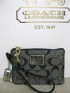 COACH 46131 Metallic Outline Op Art Signature C Small Wristlet Pouch Black Gold