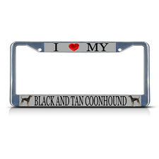 Love And Tan Coonhound Dog Metal License Plate Frame Tag Border Two Holes