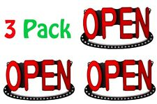 "Lot of 3 OPEN LED Sign Colorful 19"" x 10.75"" with 2 Animated Mode + UL Power"