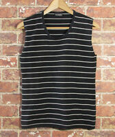 MARIMEKKO L Sleeveless Blouse Silk Blend Ritva Falla Black White Striped Knit