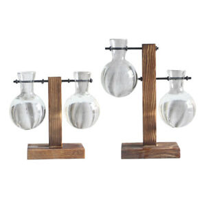 2PC Desktop Indoor Plant Stand with Hanging Glass Vases for Aesthetic Room Decor