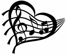 MUSIC HEART Vinyl Decal Sticker Car Window Wall Bumper Love Notes Treble Symbol