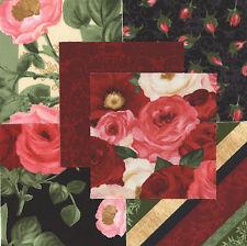 "Floral Bouquet Moderne 30 4"" fabric squares quilting cotton quilt flowers home"
