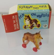 1960's Miniature Fun on Wheels Collie Dog ELM Toys Hong Kong. Pull along toy
