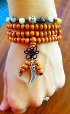 Good Luck Horn Mala Beads Buddhist Bracelet Necklace Burnt Orange Terracotta ♡