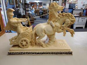 "Vintage A.Santini Italy Roman Gladiator Chariot & Horses 16"" Large Sculpture"