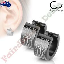 Pair of Surgical Steel Black Hinged Hoop Earring with Lords Prayer Padre Nuestro