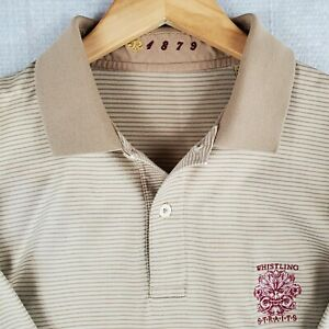 JOEY RODOLPHO x WHISTLING STRAITS Large Khaki Striped Mens Golf Polo Shirt