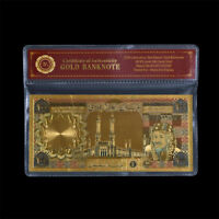 WR GOLD Banknote Saudi Arabian 100 Riyal King Khalid Note Novelty Money 24K +COA