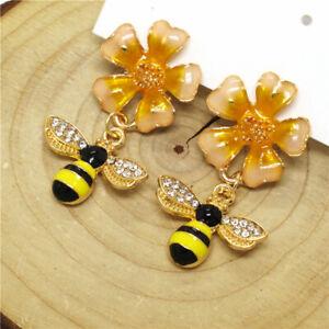 Hot Yellow Enamel Cute Flower Bee Crystal Betsey Johnson Women Stand Earrings