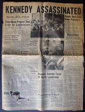 """Kennedy Assassinated"" Medford Mail Tribune Newspaper November 22, 1963"