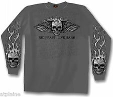 T-Shirt ML FLAME WINGED SKULL - Taille M - Style BIKER HARLEY