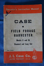 Original Case tractor Field Forage Harvester Models C CL 1952 operators manual