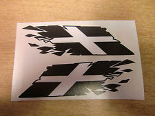 """Cornish / Kernow Flag """"ripped"""" style stickers - 300mm decals x2 LARGE"""