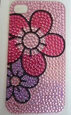 Diamonte Flowers on Pink Design Sticker for Apple iPhone 4/4G/4S Phone Decal