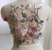 Floral Bridal Evening Dress Lace Motif Embroidery Wedding Costume Applique 1 PC