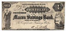1863 Macon Savings Bank Georgia 4 Four Dollar Note