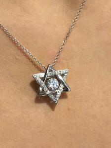"Platinum Sterling Silver ""Dancing Diamond"" Star of David White Sapphire Pendant"