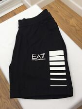 EMPORIO ARMANI EA7 Black 100% Cotton Shorts White Stripes & Logo Size S M L BNWT