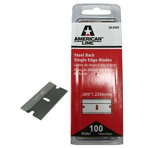 "100 Pack Steel Back .009"" Single Edge Razor Blades Scraper Cutter Straight Knife"