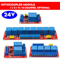 24V 1 / 2 / 4 / 8 Channel Relay High Low Level Optocoupler Module