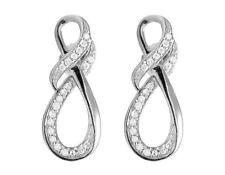 Ladies 10K White Gold Genuine Diamond Infinity Ribbon Dangle Earring .25 ct