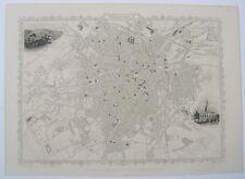 Sheffield: antique city plan by Tallis & Rapkin, c1851