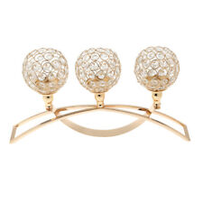 Crystal Sparkly 3-Arm Tea Light Votive Candle Holders Wedding Decor - Golden