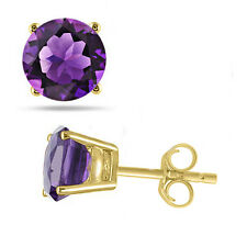 Round Cut Synthetic Amethyst Stud Earrings in 14K Yellow Gold Finish