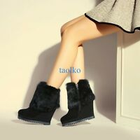 Women's Wedge High Heel Ankle Snow Boots Winter Warm Platform Zip Suede Shoes