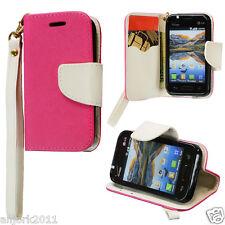 LG OPTIMUS FUEL ZONE 2 L34C VS415PP WALLET CASE W/CARD SLOTS FOLIO PINK WHITE