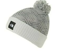 The North Face Chevron Gray Knit Pom Pom Beanie STOCKING CAP HAT Girls Youth NWT