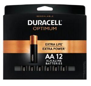 Duracell Optimum AA Alkaline Batteries, Pack Of 12
