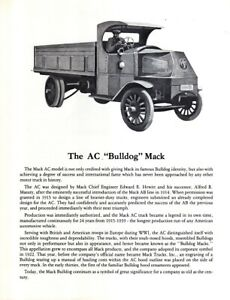 "AC ""Bulldog"" MACK Truck Specifications Brochure - 1916 to 1939"
