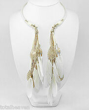 """BEAUTY 18"""" White Feather Necklace Choker 20's Glamor Style Retail $115"""