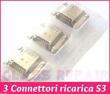 3 CONNETTORI RICARICA Charge Micro USB per SAMSUNG GALAXY S3 I9300 I9301I Neo