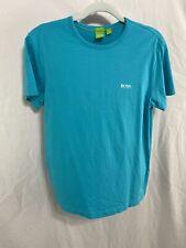 HUGO BOSS Men's  Size Medium T-Shirt Teal W/ Logo Made in Peru