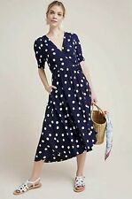 New Maeve Breanna Polka Dot Wrap Dress Size 12 Navy Blue