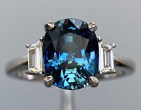 GIA 4.2 Ct Vivid Blue Sapphire & D VVS1 Diamond Three Stone Ring 18K W Gold